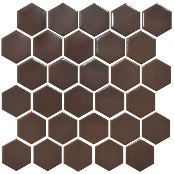 H 6005 Hexagon Coffee Brown мозаїка 295×295 мм, Котто Кераміка